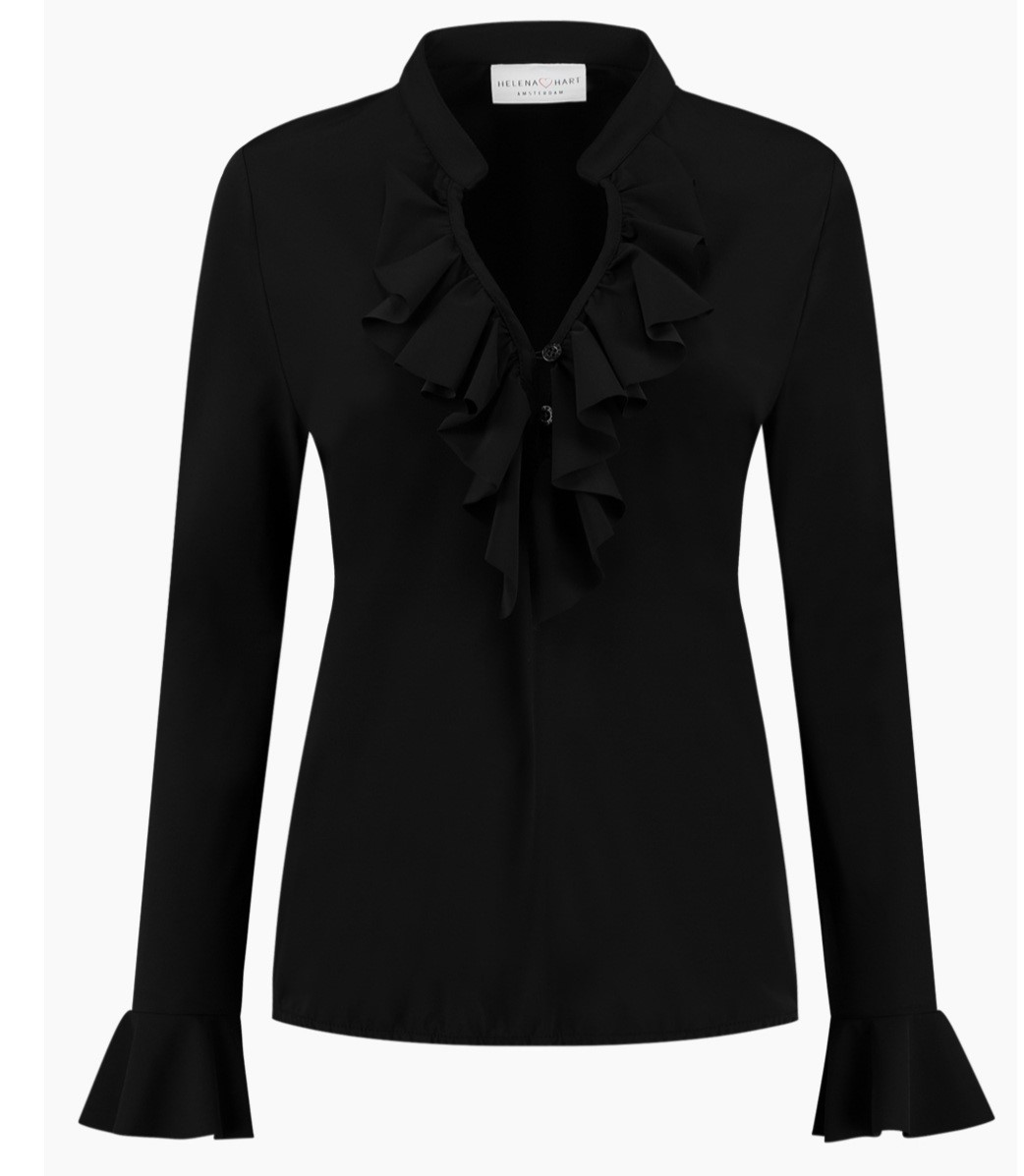 blouse ruche zwart